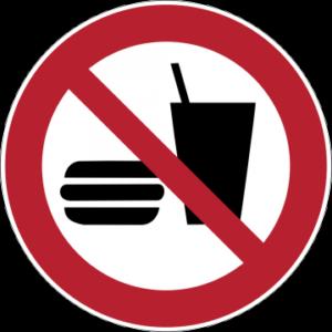 Sicherheitsaufkleber Essen und Trinken verboten