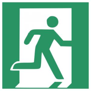 Sicherheitsaufkleber Rettungsweg/Notausgang rechts