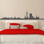 Skyline von Frankfurt auf Klebefolie als Wandtattoo