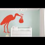 Storch bringt Kind Wandtattoo