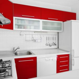 Küche Klebefolie rot weiss