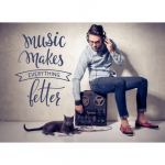 "Spruch ""Music makes better"" als Wandtattoo"