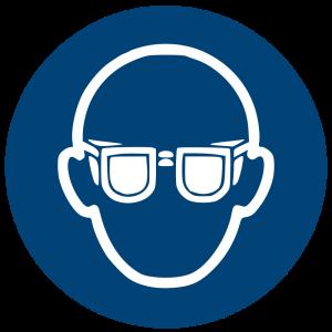 Aufkleber-Augenschutz benutzen