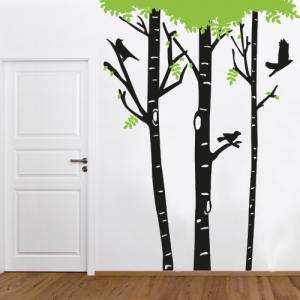 Zimmerbirke mit Vögel - Wandtattoo