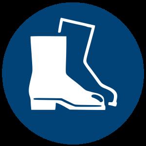 Aufkleber-Fußschutz benutzen