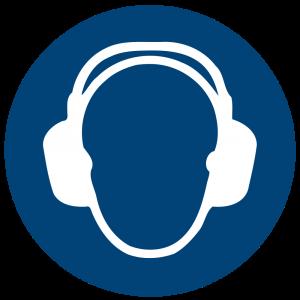 Aufkleber-Gehörschutz benutzen