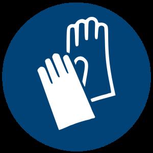 Aufkleber-Handschutz benutzen