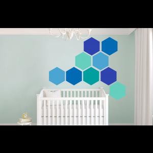 Folien in Form Hexagon Mischung Blau-Türkis