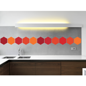 Folien in Form Hexagon Mischung Rot-Orange