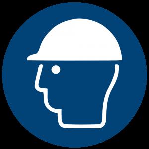 Aufkleber-Kopfschutz benutzen