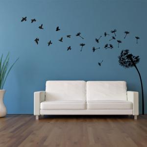 Pusteblume mit Vögel - Wandtattoo