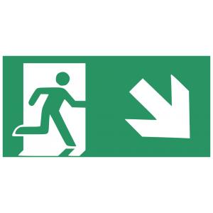 Rettungsweg Notausgang mit Zusatzzeichen schräg Aufkleber