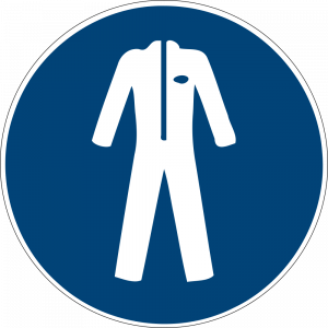Aufkleber-Schutzkleidung benutzen