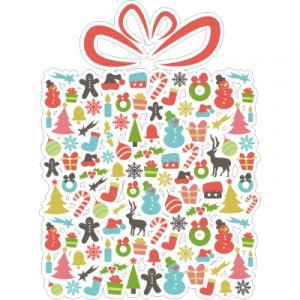 Weihnachtsaufkleber Geschenk