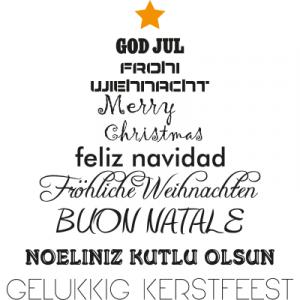 Weihnachtsaufkleber verschiedene Sprachen