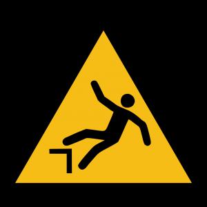 Aufkleber-Warnung vor Absturzgefahr