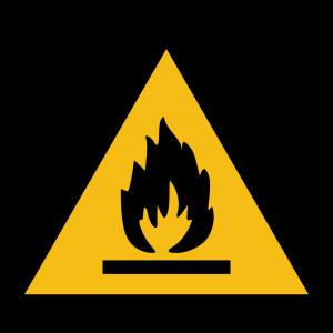 Aufkleber-Warnung vor feuergefährlichen Stoffen