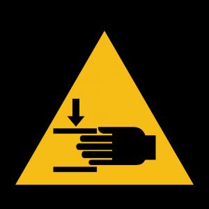 Aufkleber-Warnung vor Handverletzungen
