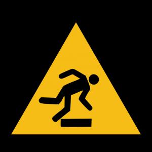 Aufkleber-Warnung vor Hindernissen am Boden