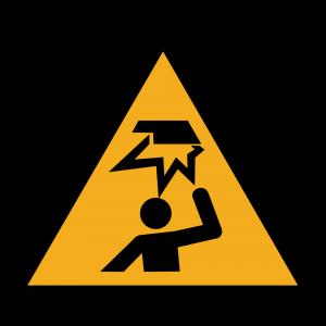 Aufkleber-Warnung vor Hindernissen im Kopfbereich