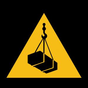 Aufkleber-Warnung vor schwebender Last