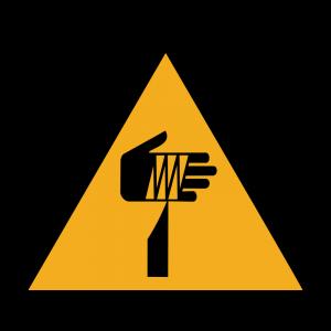 Aufkleber-Warnung vor spitzem Gegenstand