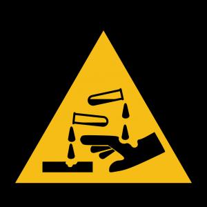 Aufkleber-Warnung vor ätzenden Stoffen